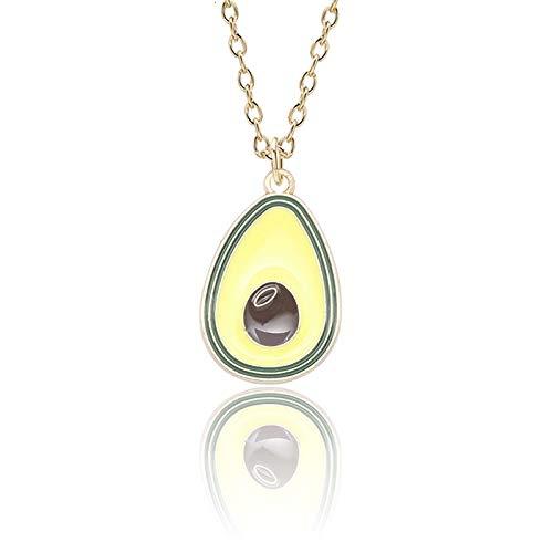 Lexiang Nette süße Avocado Halskette für Frauen Mädchen Pflanze Kaktus Sonnenblume Avocado Email Anhänger Halsketten Choker Charme (Metal Color : Avocado)
