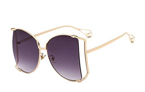 SHANGYUN Gafas de Sol de Media Ronda para Mujer, Gafas de Sol graduadas con Montura Grande a la Moda para Mujer, Gafas Unisex para Mujer C1GoldGray