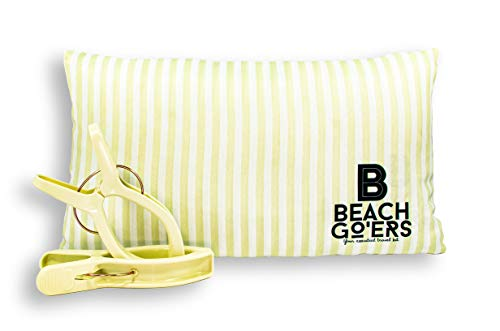 Beach Go'ers | Waterproof Beach Chair Head Pillow and Color Matching Towel Clips Set | Pastel Colors | Your Essential Vacation Travel Kit (Green)