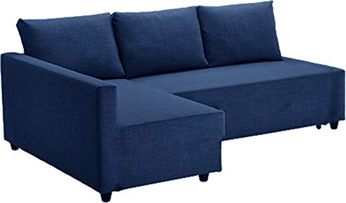 The Dark Blue Friheten Sleeper Thick Cotton Sofa Cover Replacement is Made Compatible for IKEA Friheten Sofa Bed, Or Corner, Or Sectional Slipcover. Sofa Cover Only! (Blue Right Arm)