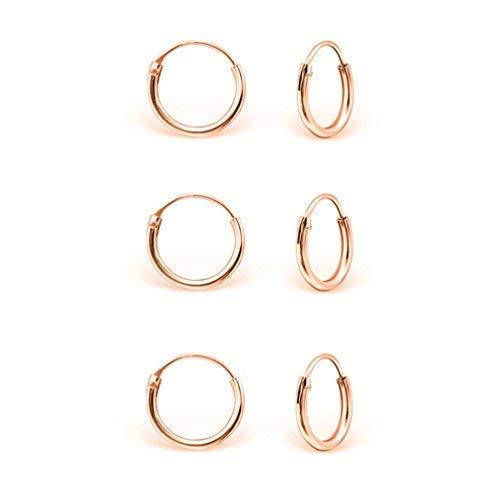 DTP Silver - Set da 3 paia di Orecchini da donna a Cerchio - Argento 925 Placcato in Oro Rosa - Spessore 1.2 mm, Diametro 10 mm
