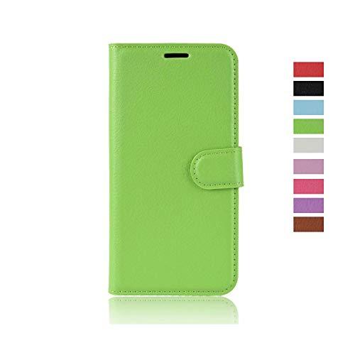 cookaR Motorola Moto E6 Plus Handy Hülle Tasche Flip Hülle Kredit Karten Fach Geldklammer Leder Handy Schutzhülle Unsichtbar Magnet Verschluss Standfunktion,Grün