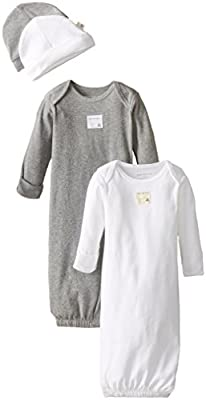 Burt's Bees Baby Unisex Baby Gown and Cap Set, 100% Organic Cotton, 0-6 Months, Cloud/Heather Grey 2-Pack