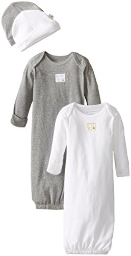 Burt's Bees Baby Unisex Baby Gown and Cap Set, 100% Organic Cotton, 0-6 Months, Cloud/Heather Grey, 2-Pack