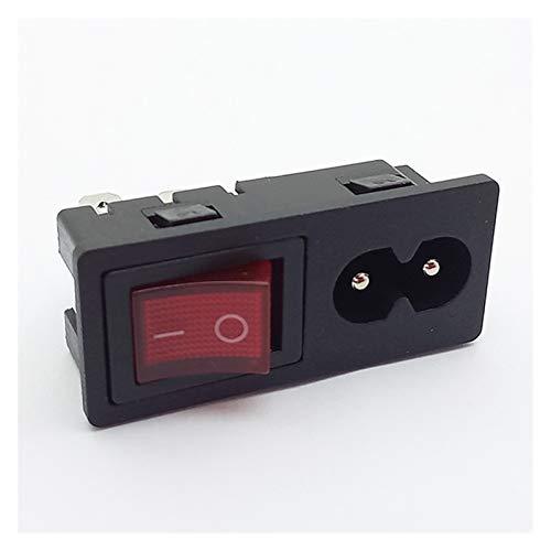 JSJJAYH Interruptor basculante Conector de Enchufe y Enchufe de Potencia de 4 Piezas, Interruptor con 3 Clavijas o adaptadores de Potencia de Montaje en Panel Accesorios (Color : 3pins Switch)