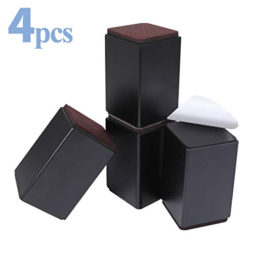 Ezprotekt 10 cm Möbelerhöhung aus Karbonstahl, 6 cm Breit, 6 cm Länge, Selbstklebende Möbelerhöhung fügt 10 cm Höhe zu Betten, Sofas Schränken, Unterstützt 20.000 lbs, Schwarz Quadrat