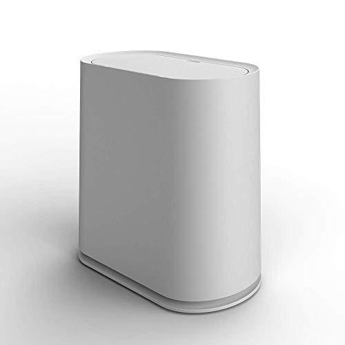 Covok - Cubo de Basura Moderno semiautomático de Alta Gama, Creativo, Simple y Elegante, de plástico con Tapa, Cubo de Basura de Gran Capacidad con un botón, Color Gris y Blanco