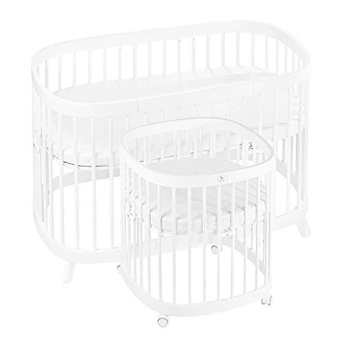tweeto Babybett Kinderbett Baby 7-in-1 KOMPLETT-SET - multifunktional erweiterbar inkl. 3-tlg. Matratze Design (Weiss)