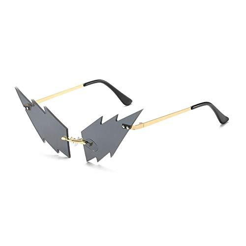 ZZOW Gafas De Sol Sin Montura De Ojo De Gato A La Moda para Mujer, Gafas De Sol Transparentes con Forma De Rayo, Gafas De Sol Vintage para Mujer, Sombras Uv400