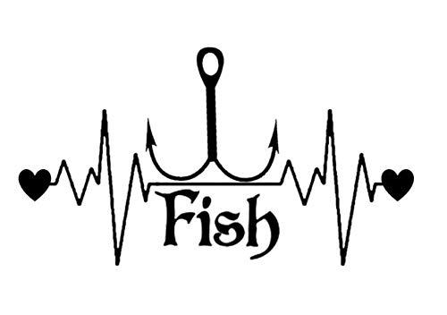 Pegatina de Coche Nuevo Caricatura Pegatinas de Coche Pescado Peces Gancho Pegatina del Latido del corazón (Color : 1)