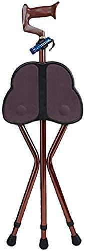 Trípode Plegable Asiento de bastón de Aluminio Bastón Antideslizante Ajustable con Asiento de muleta Abduct para Ancianos-marrón