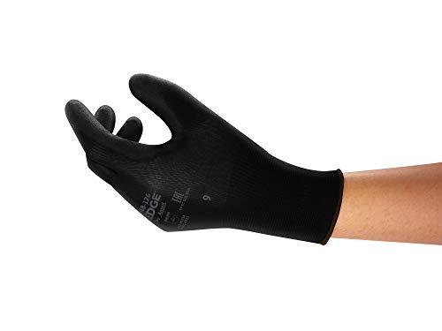 Ansell Edge 48-126 Arbeits-Handschuhe, Vielseitig Einsetzbarer Handschuh, Heimwerker-, Renovierungs-, Mechanik-Arbeiten, Schwarz, Größe 9 (12 Paar)