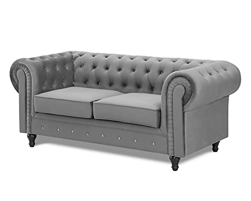 Velvet Fabric 2 or 3 Seat Sofa Modern Chesterfield Upholstered Settee Set (2 Seat Sofa Only, Grey)