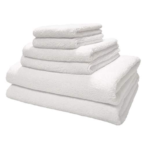 Polyte - Juego de Toallas de baño de Microfibra Felpa y antipelusa - Secado rápido - Pack de 6 (Blanco)