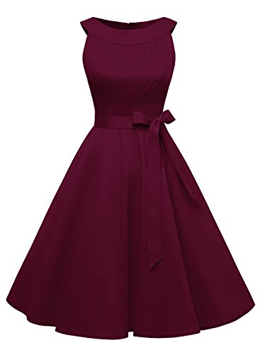 Timormode Damen Retro 50er Party Swing Brautjungfern Rockabilly Einfarbig Kleid 10408 S Burgundy