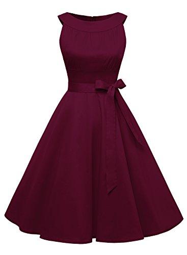 Timormode Damen Retro Kleid Kurz Vintage Swing Cocktailkleid Rockabilly Einfarbig 10408 M Burgundy
