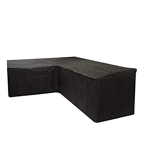 LGarden Furniture Cover, Corner Sofa Cover,V-Shaped, Heavy-Duty Oxford Cloth, With Drawstring And Storage Bag (Black)