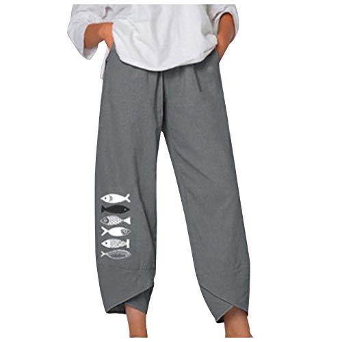Frauen Casual Mid Waist Fish Print Baumwolle Loose Long Straight Pants,Damen Sommer Große Größen Leinen Hose Druck Freizeithose mit Taschen Frauen Hosen Jogginghose Haremshosen (3-Grau:L)