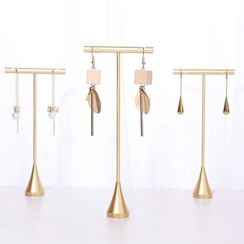 GemeShou 3pcs Gold Metal Earring T Stand Small Earring or Studs Holder Jewelry Show Photo Shoot Online Retail, Not for Big Dangly Earrings?Gold-Cone Base 3pcs Height 5.1?