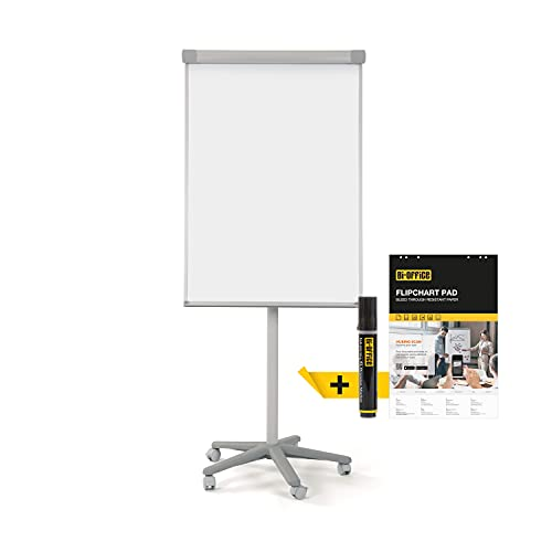 Bi-Office Mobiles Flipchart Smart, mit 5 Rollen, magnetisch, Grau, Aluminiumrahmen, Tafelgröße 70 x 100 cm, Gesamthöhe 180 cm