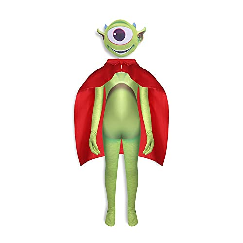 Boys Green Monster Inc Costume Halloween Mike Eye Cosplay Outfits With Cape for Kids 5-12 Years