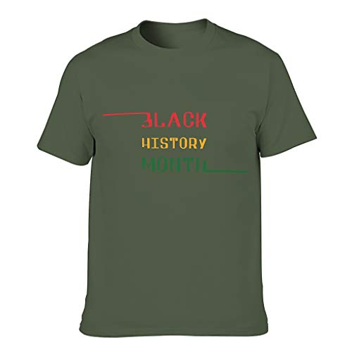 Camiseta de algodón para hombre con cuello redondo y cuello redondo, para correr verde militar XXXL