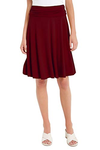 12 Ami Solid Basic Fold-Over Stretch Midi Short Skirt Burgundy Small