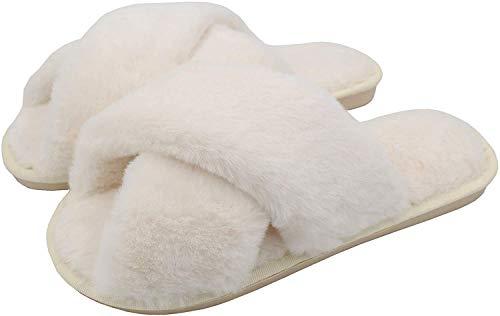 AONEGOLD Ciabatte da Casa Donna Invernali Warmer Peluche Pantofole Croce Morbido Open Toe Pantofole di Pelliccia Antiscivolo Scarpe(Bianco,Taglia 40-41)