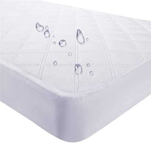 Waterproof Fitted Crib Mattress Pad and Toddler Crib Mattress Protective Baby Crib Mattress Cover Sheets Protector Bedding Sets Breathable & Hypoallergenic for Boys and Girls (White, Crib 28''x52'')