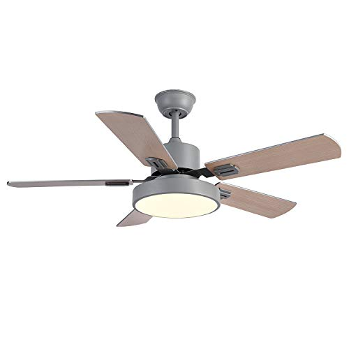 Simplux Ceiling Fans, 44'' Wifi Smart Ceiling Fan, LED Frosted Light and Remote Control,Work with Alexa and Google Assistant, Small Room Bedroom, Matte Silver, Extra Large