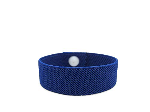Anti-Anxiety Bracelet, Elasticated Acupressure Bracelet, Stress Relief Band, Water Resistant, Sleep Band, Pull-On Style (Single) (Royal Blue, Large 8 in.)
