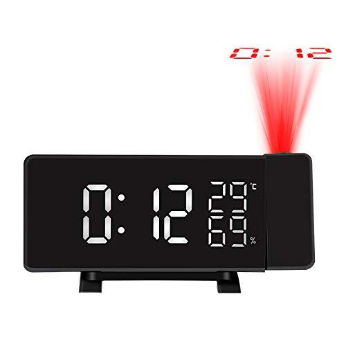 FPRW digitale wekker met projectie, temperatuur-vochtigheidsweergave, spraakbediening, radio-elektrische snooze-timer-USB-oplaadindicator