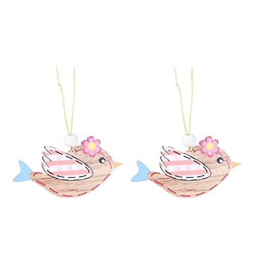 Unknows, 2 pezzi in legno di coniglio pasquale da appendere decorazione per la casa fai da te uova coniglietto uccello timbro ciondolo