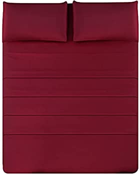 Queen Bed Sheet Set - Red Sheets - 4 Piece Brushed Microfiber - Breathable Cool Crisp - Luxury Finish- Deep Mattress Pockets- Environment Friendly - Hotel Luxury Cooling Sheets