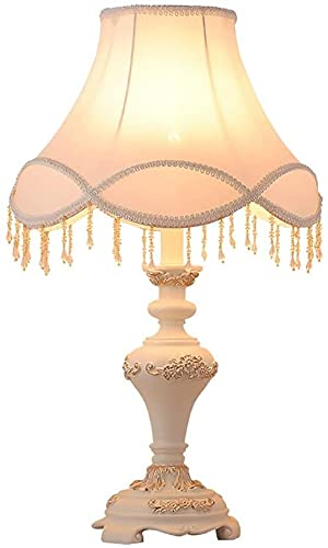 Lámpara Escritorio Lámpara de Mesa de Resina de Estilo Retro de cabecera de Dormitorio de atenuación LED de Pantalla de Tela Minimalista Moderna