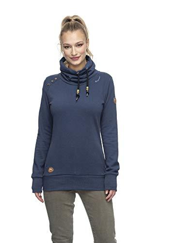 Ragwear HABLARIA B Organic Damen,Streetwear,Pullover,Hoodie,hoher Stehkragen,vegan,Zwei Taschen,Navy,XS
