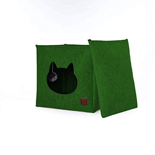Katzenhöhle / Katzenbett aus Filz mit separatem Kissen und integriertem Katzenspielzeug   Idealer Platz für Katzen zum spielen, kuscheln, schlafen und kratzen (Grün)