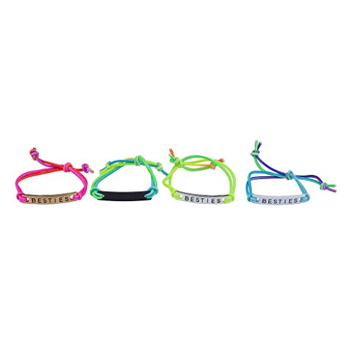 Lux Accessories Rainbow Corded Besties Best Friends Forever ID Bracelet Set (4pc)