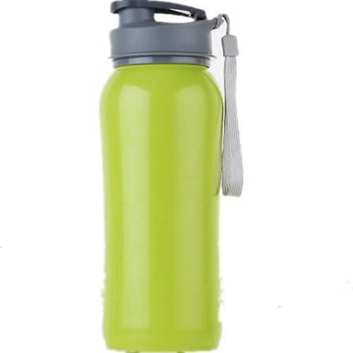 YIXINYOUPIN Deportes al aire libre Copa de acero inoxidable Deportes botella con cuerda de gran capacidad portátil botella de agua Fitness Camping montañismo 750 ml verde 24*7 cm
