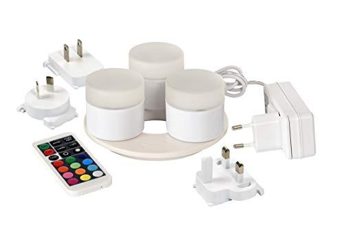 Duni 3er LED Mini Lamp -Set 186496 Multicolor inkl. Fernbedienung und 3er Ladestation