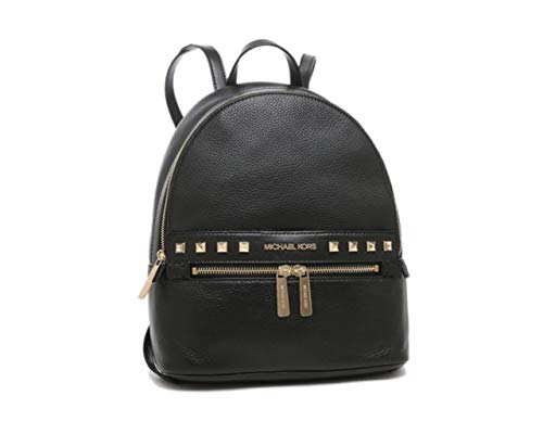 Made of soft pebbled leather with studs detail on front; Top zip closure; Front zip pocket; 1 side pocket iPad pocket; 1 inside zip pocket; Double flat leather shoulder strap of 12 inches drop Flat bottom base; Gold hardware Measurements: Length: 9.7...