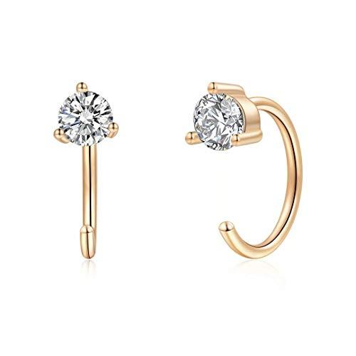 925 Sterling Silver Earrings for Women, Tiny Cubic Zirconia Open Huggie Hoop Earrings Minimalist Gold Hypoallergenic Earrings for Women