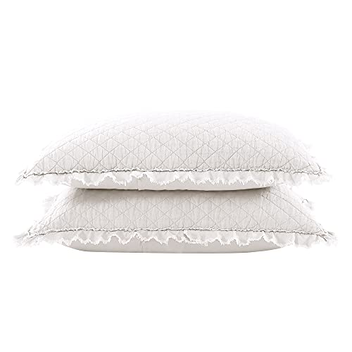 Brielle Home Ravi Stone Washed Solid Diamond Stitched Quilted Sham Set, Standard, White