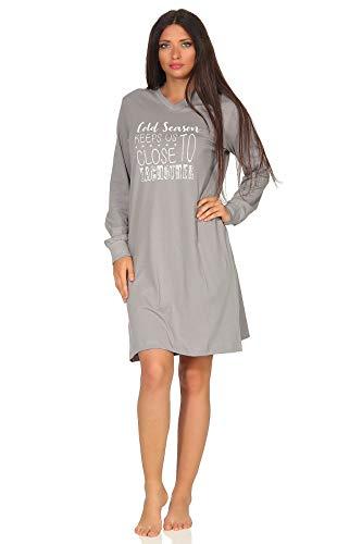 NORMANN WÄSCHEFABRIK Damen Nachthemd Langarm mit Bündchen - auch in Übergrössen bis Gr. 60/62-291 90 220, Farbe:grau, Größe2:60/62