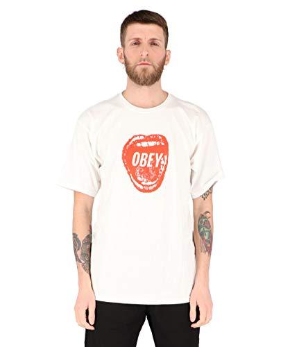 OBEY - Camiseta de mujer Screamin' Lips Basic Tee blanco L
