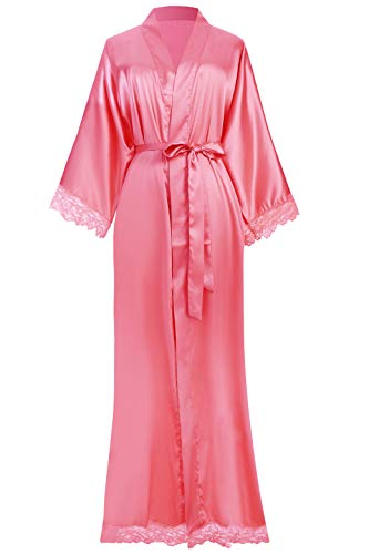 ArtiDeco dames ochtendjas maxi lange zijde satijn kimono strandjurk effen badjas gedrukt gebreide jas dames lange robe pure kleur slaapjas