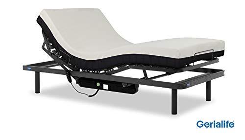 Gerialife® Cama articulada con colchón ortopédico viscoelástico 20 cm. (90x190, Gris Grafito)