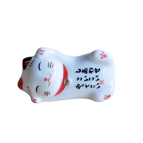 Akopiuto Cerámica Gato de la Suerte Maneki Neko Adornos de decoración del hogar Regalos de Negocios Caja de Dinero de Gato de la Fortuna Feng Shui Craft A3