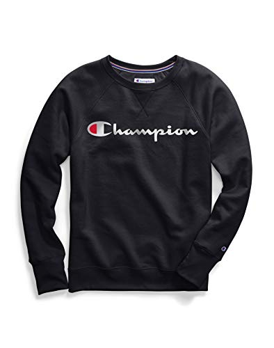 Champion Women's Powerblend Boyfriend Crew Sweatshirt, Black-Graphic, X Large