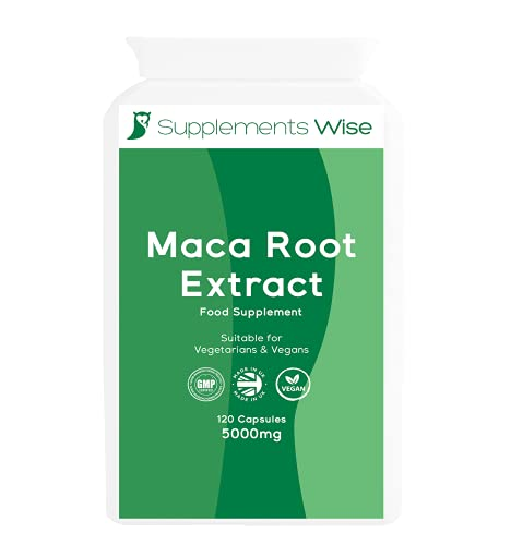 Maca Root Capsules - 120 x 5000mg - Supplement for Men and Women - Powder Extract with Added Zinc - Energy, Mood, Performance and Stamina Booster - High Strength, Vegan Supplement